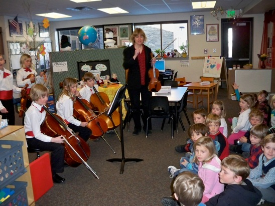 Students from Lowell Whiteman Primary School's fourth-grade class, along with their teacher, Mary Anne Fairlie, were invited to play their string instruments for Kathy Swingle's class at Strawberry Park Elementary School on Tuesday. This was the culminating event following a monthlong study of visual and performing arts by the kindergarteners. Submitted by: Debbie Gooding