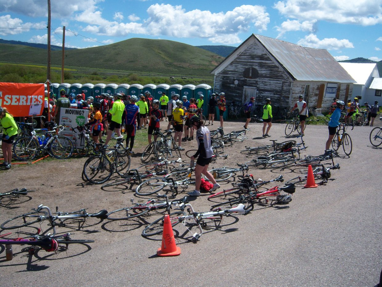 Ride the Rockies cyclists stop at the Toponas Country General Store in South Routt County.