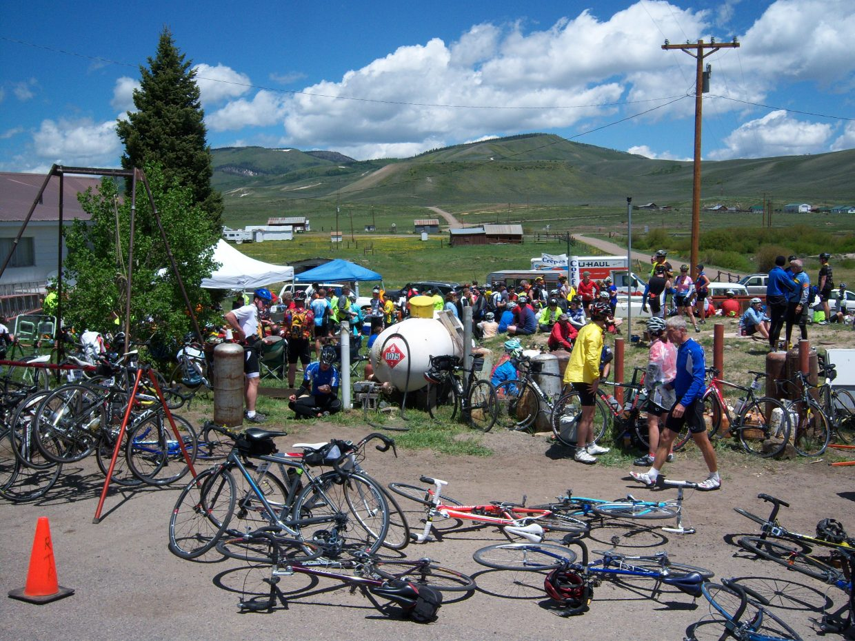 Ride the Rockies cyclists stop at the Toponas Country General Store.