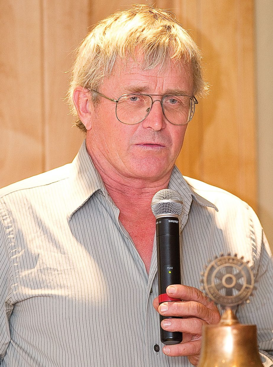 City Council candidate John Fielding addresses the Rotary Club of Steamboat Springs during the group's Tuesday luncheon.
