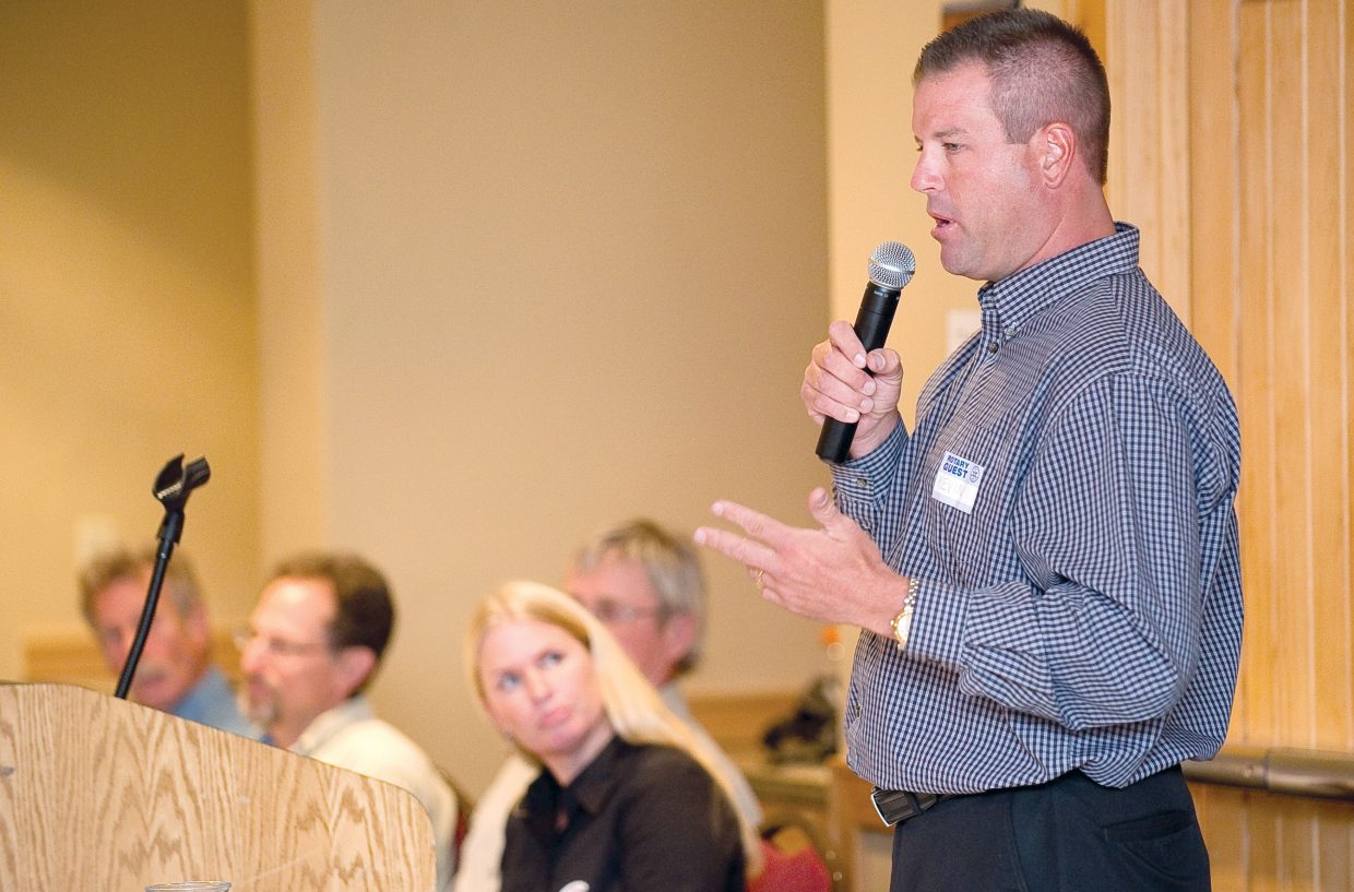 City Council candidate Kevin Kaminski addresses the Rotary Club of Steamboat Springs during the group's Tuesday luncheon.