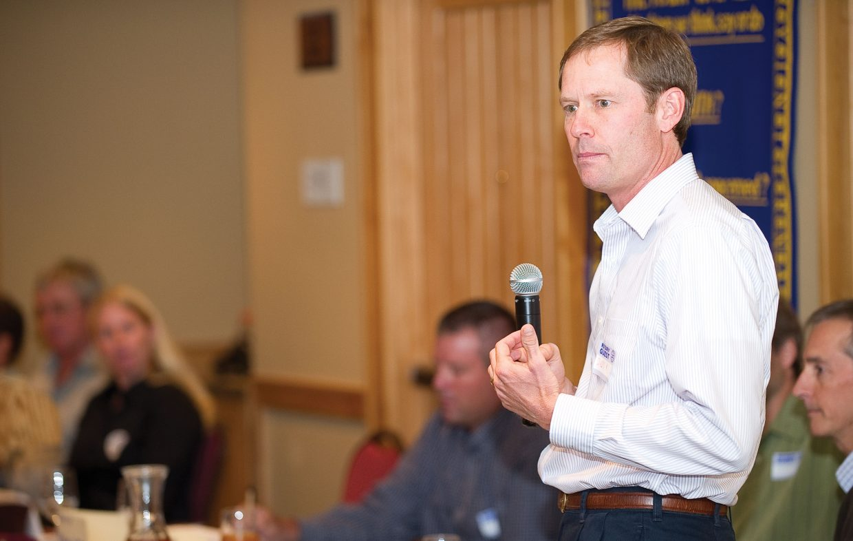 City Council member Bart Kounovsky addresses the Rotary Club of Steamboat Springs during the group's Tuesday luncheon. Kounovsky is running unopposed for his seat in this November's election.