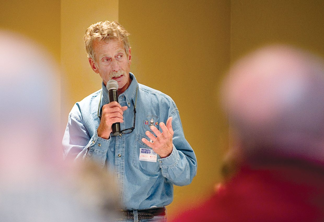 City Council candidate Daryl Levin addresses the Rotary Club of Steamboat Springs during the group's Tuesday luncheon.