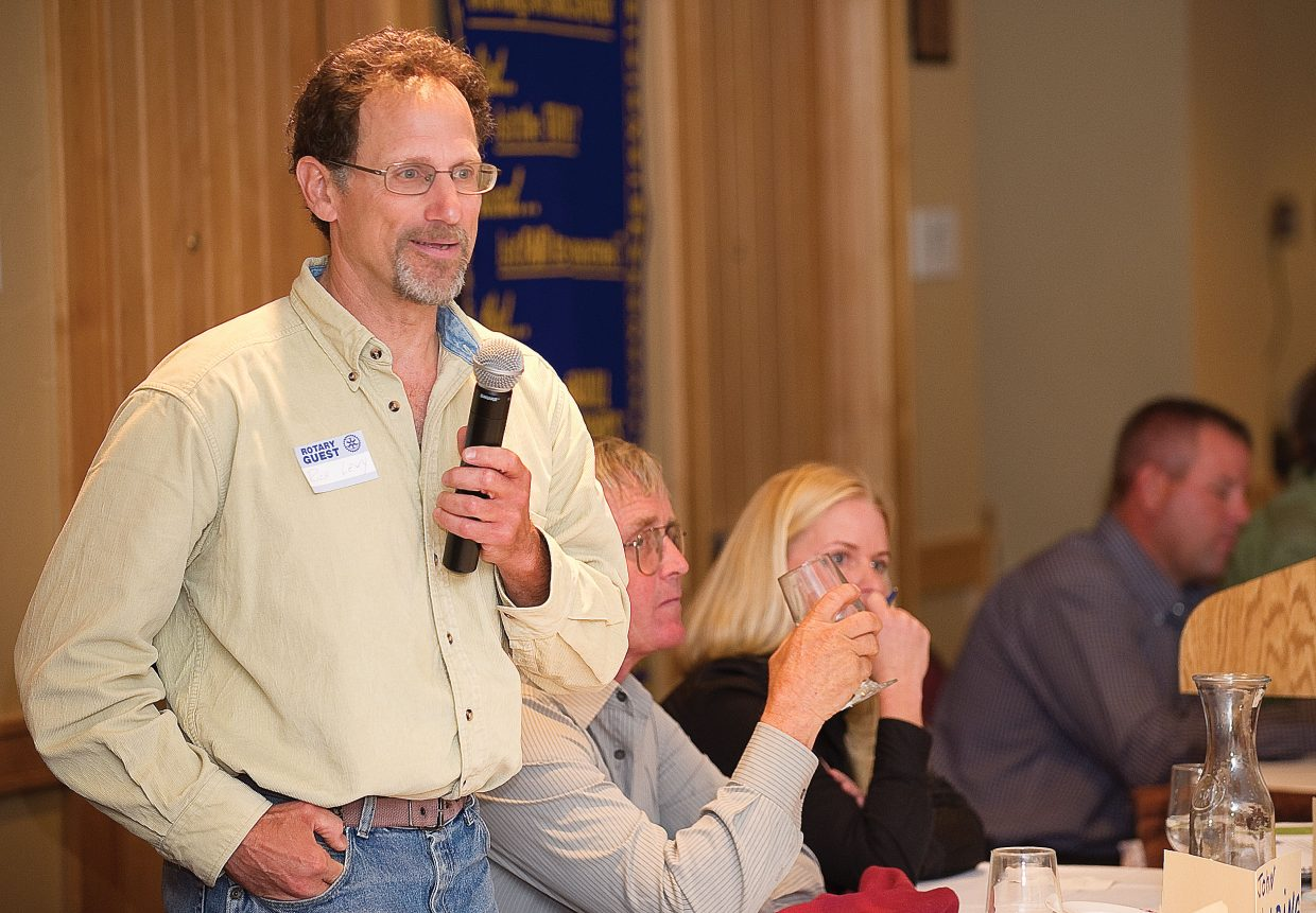City Council candidate Rich Levy addresses the Rotary Club of Steamboat Springs during the group's Tuesday luncheon.