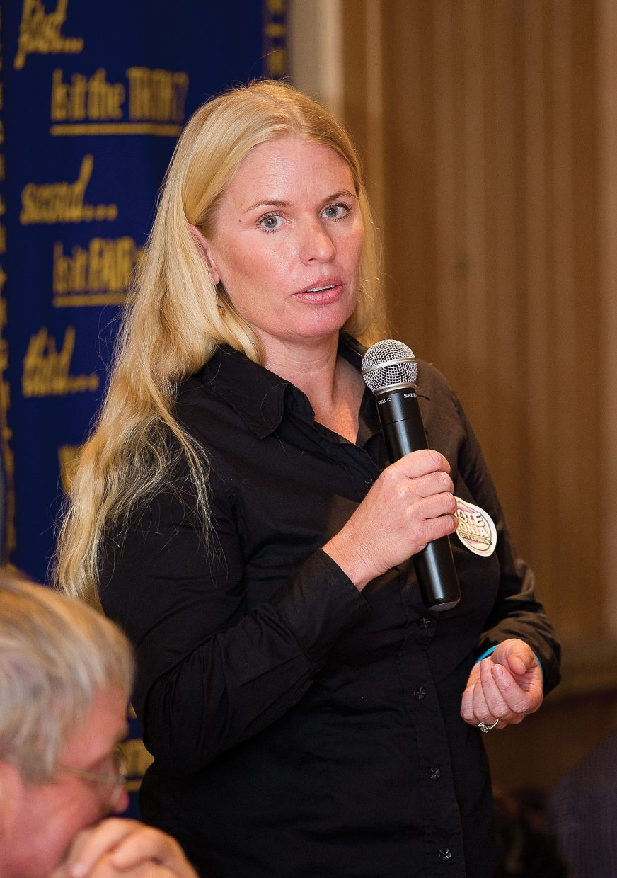 City Council candidate Sonja Macys addresses the Rotary Club of Steamboat Springs during the group's Tuesday luncheon.