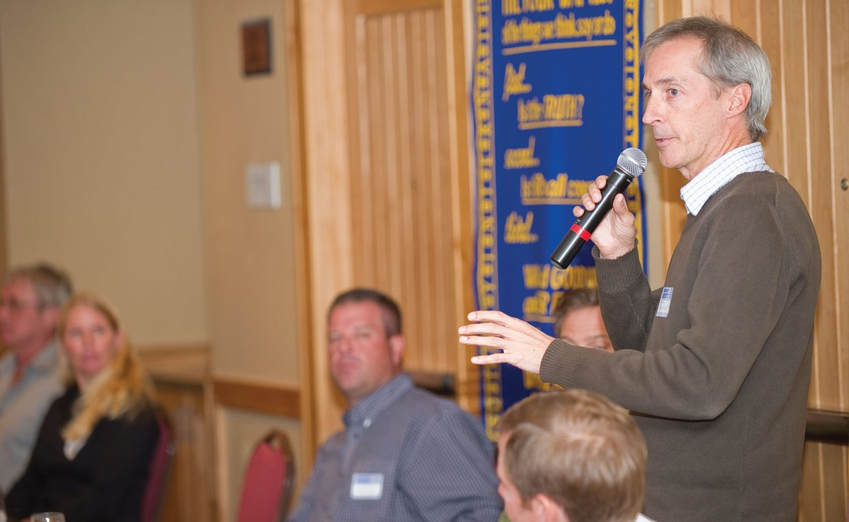 City Council candidate Dave Moloney addresses the Rotary Club of Steamboat Springs during the group's Tuesday luncheon.