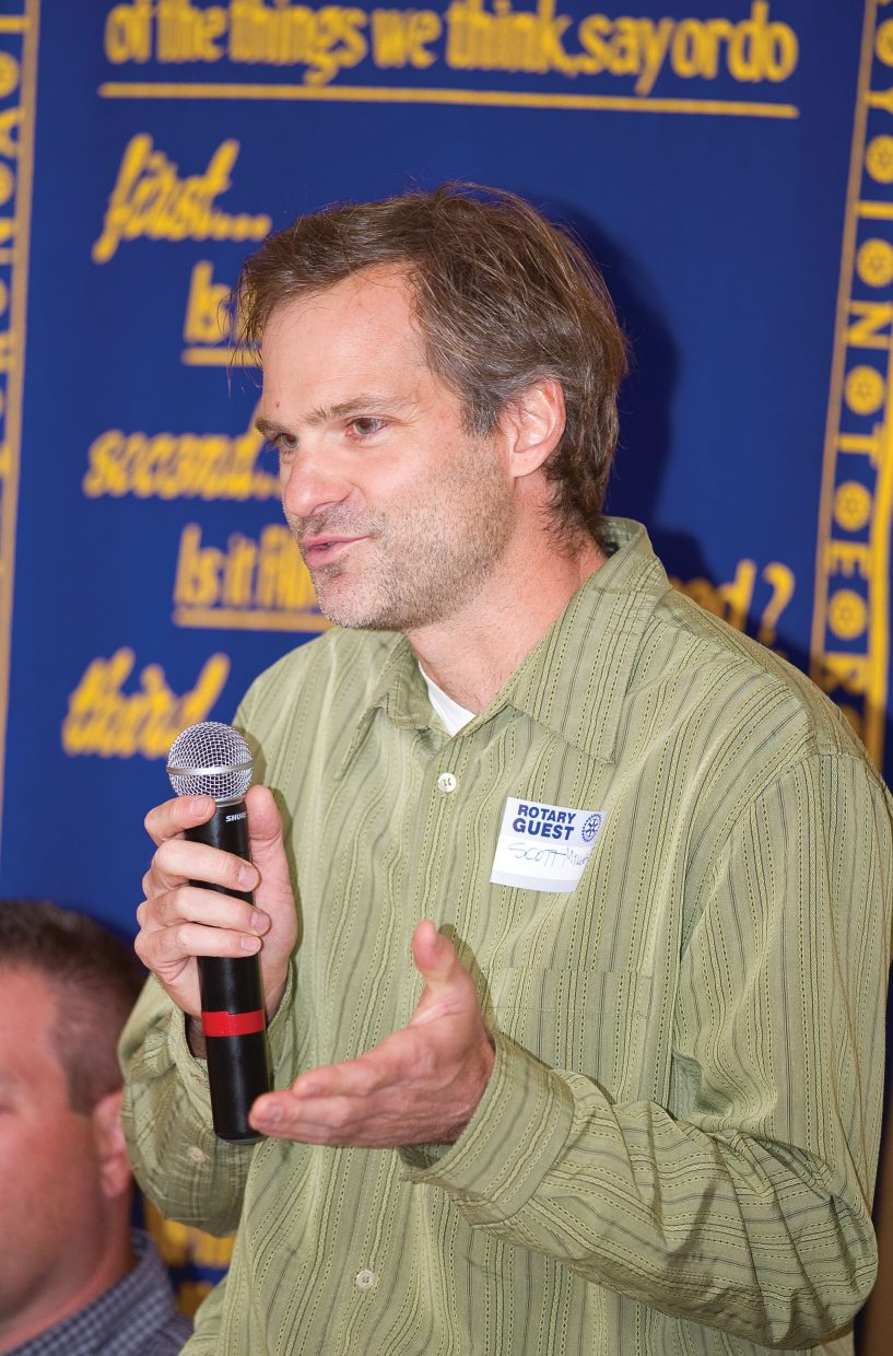 City Council candidate Scott Myller addresses the Rotary Club of Steamboat Springs during the group's Tuesday luncheon.