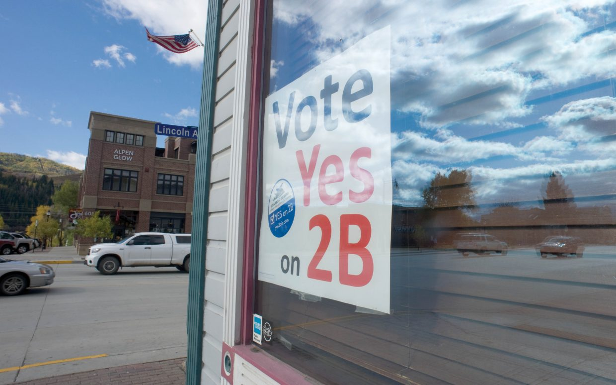 A sign inside Old Town Pub urges voters in Steamboat Springs to support Referendum 2B, a ballot initiative that raises the city sales tax by 0.25 percent to pay for airline revenue guarantees.
