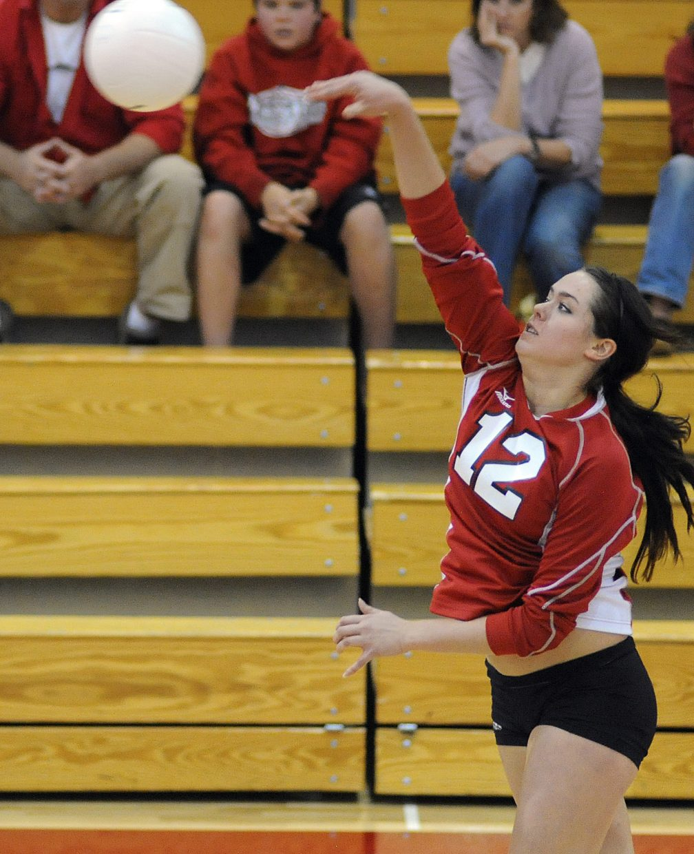 Amy Brodie hits the ball Thursday against Glenwood Springs.