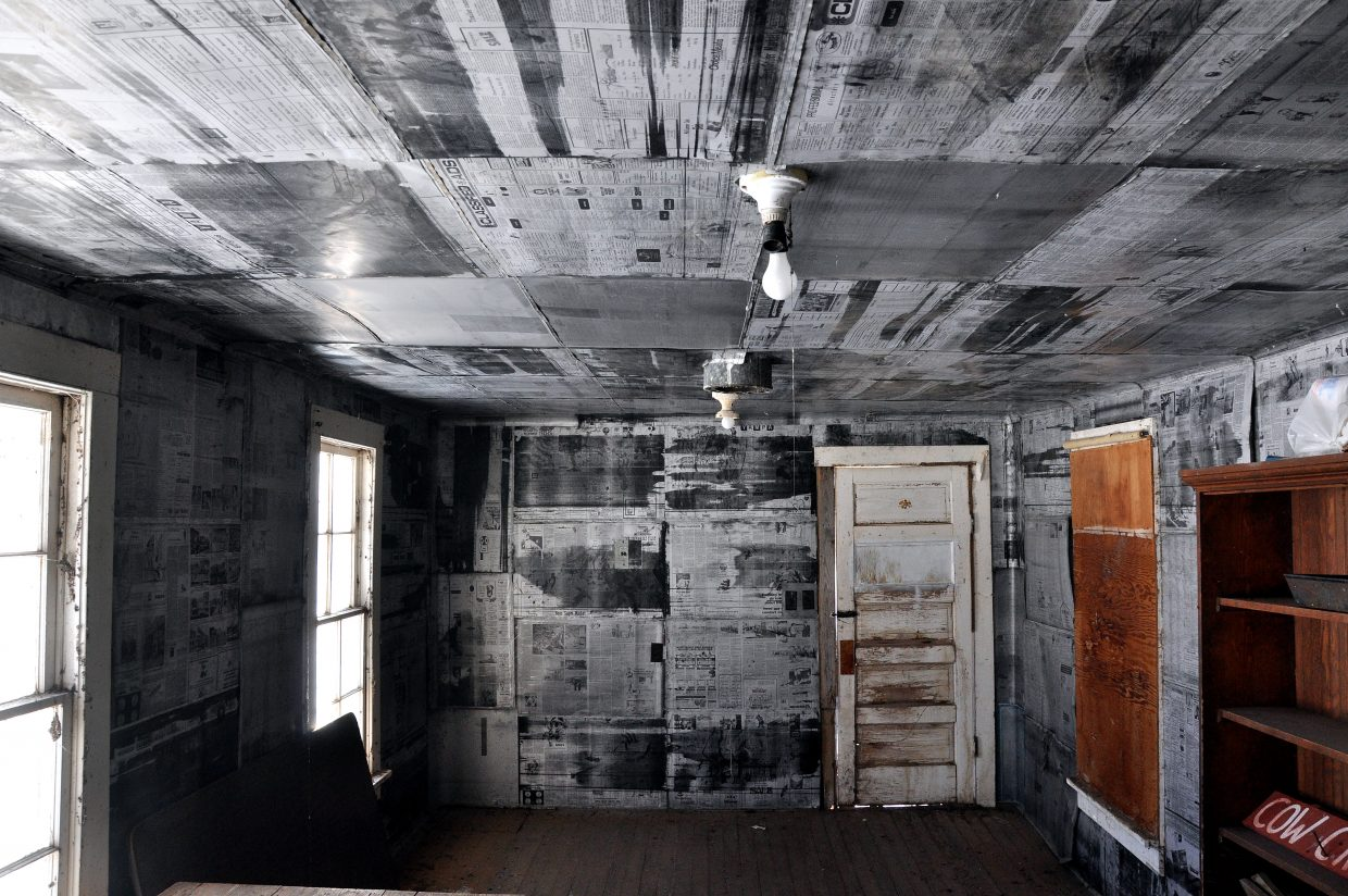 The walls in a back room of the Cow Creek Schoolhouse are covered with metal plates dating back to the 1970s that were used to print the Steamboat Pilot.