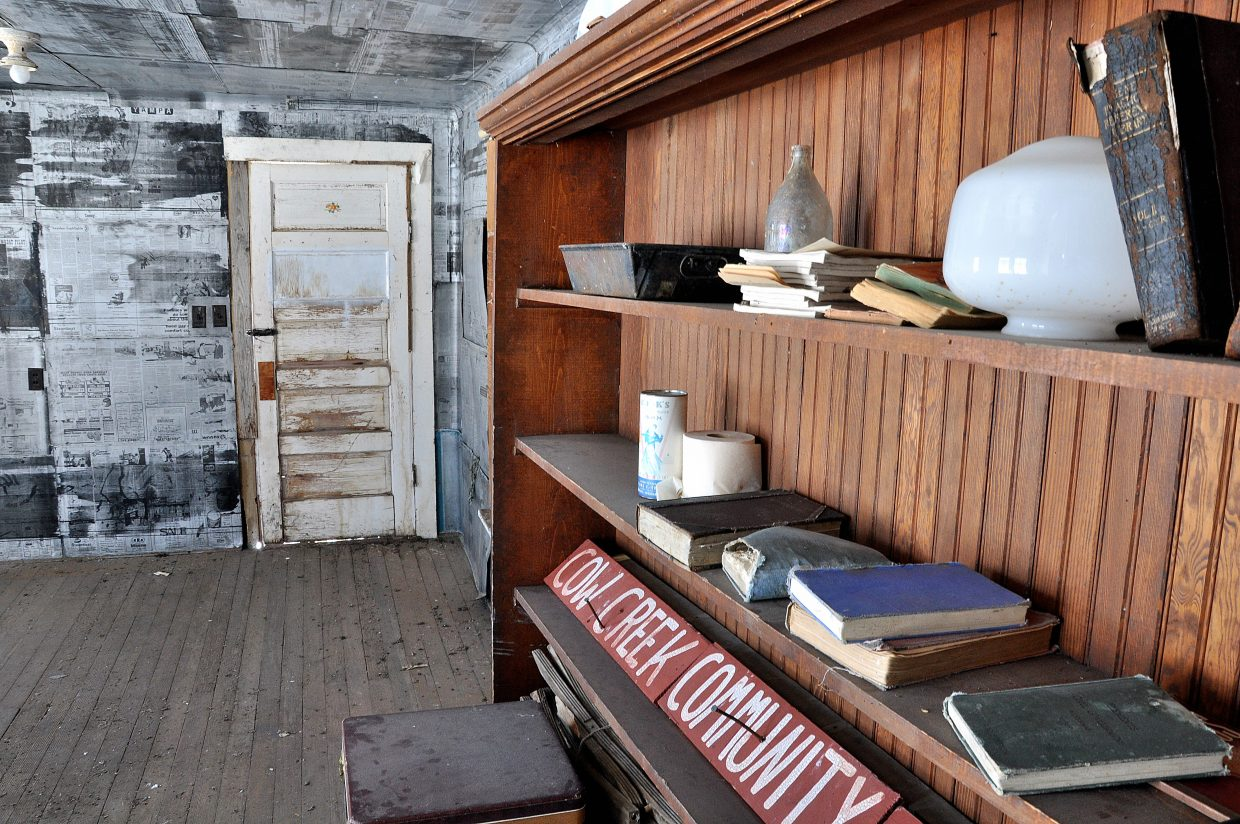 Hundred-year-old textbooks remain inside the schoolhouse