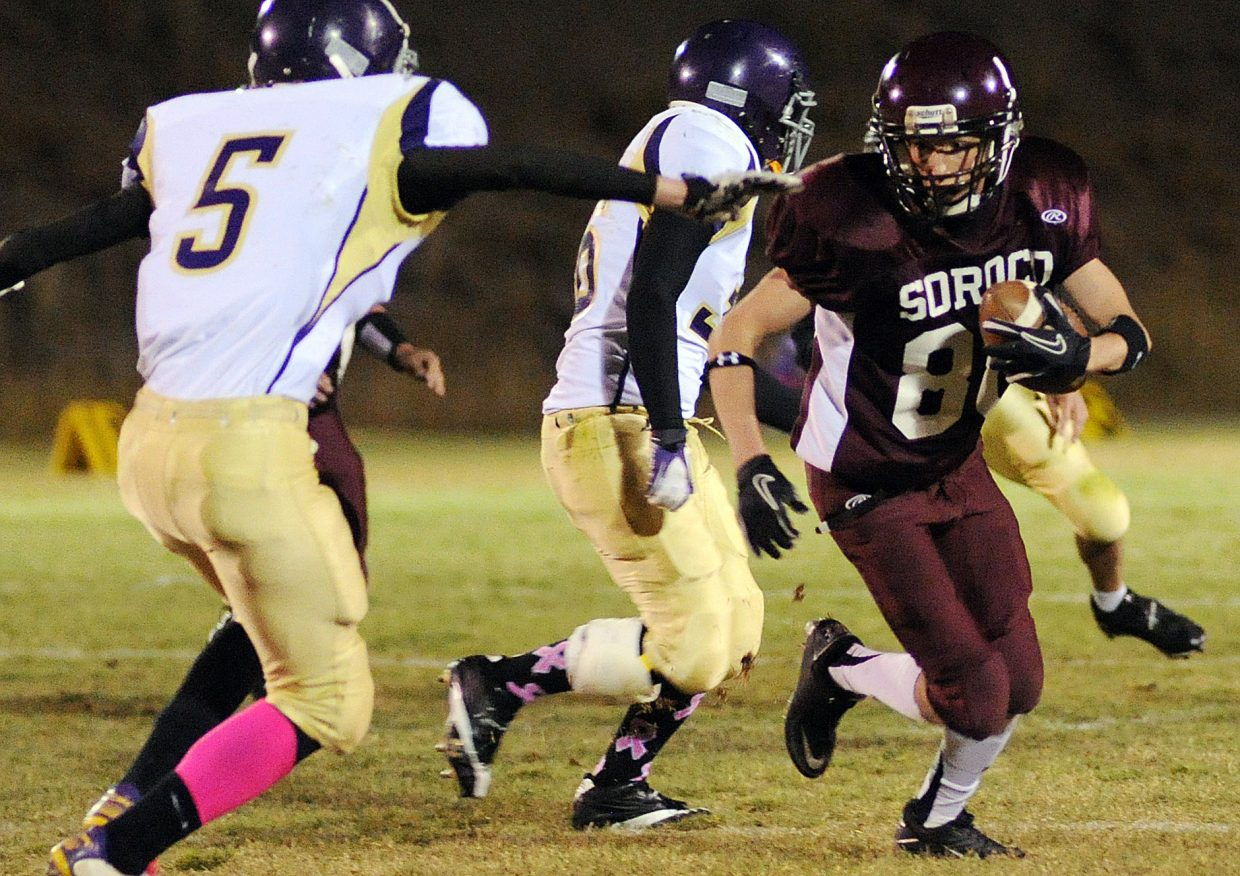 Soroco's AJ Anderson cuts up field after catching a pass Friday.