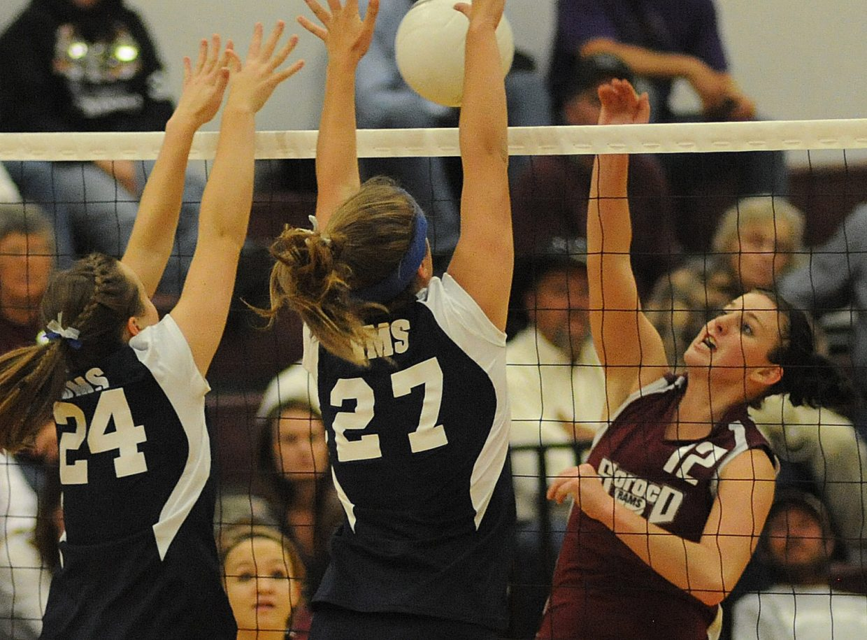 Soroco's Shelby Miles hits the ball Friday night against Vail Mountain.