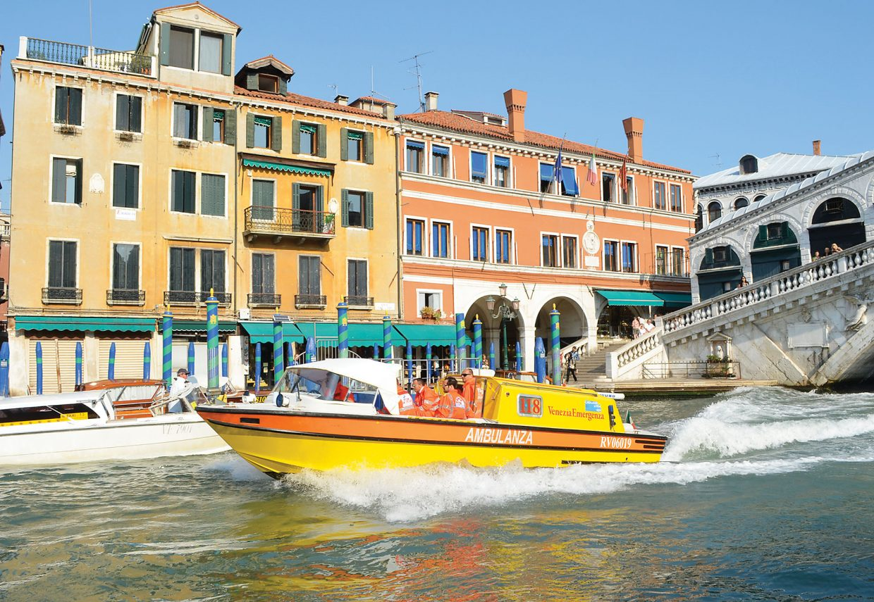 If you stumble and break your ankle on the steps of the Rialto Bridge in Venezia, the EMTs will come charging up the Grand Canal in a floating ambulanza to come to your assistance. Cars, trucks and even bicycles are unheard of in the famous Italian travel destination.