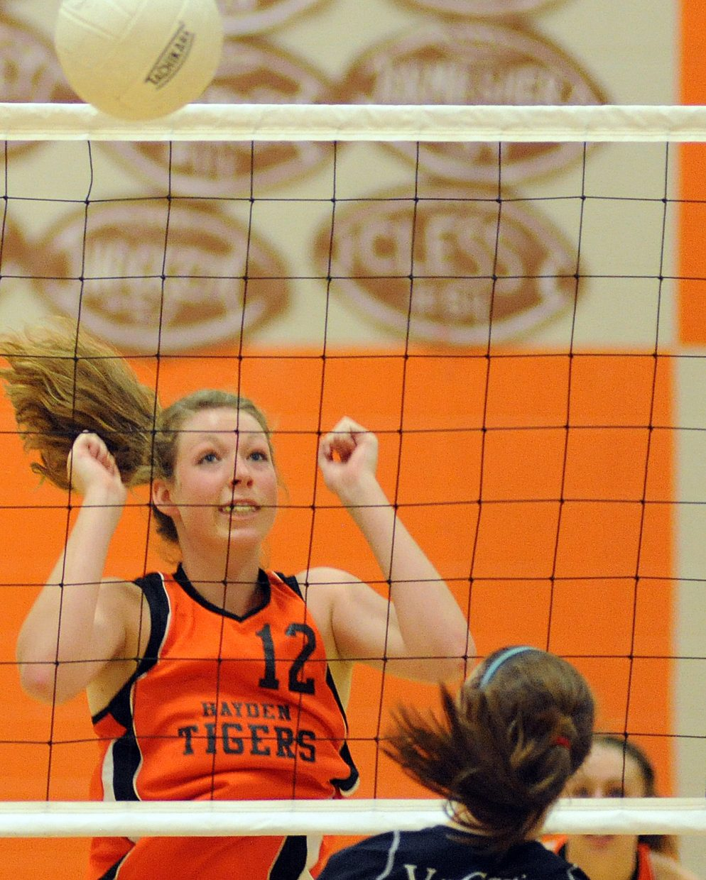 Hayden's Aubree Haskins watches after blocking a shot Saturday against Vail Christian.
