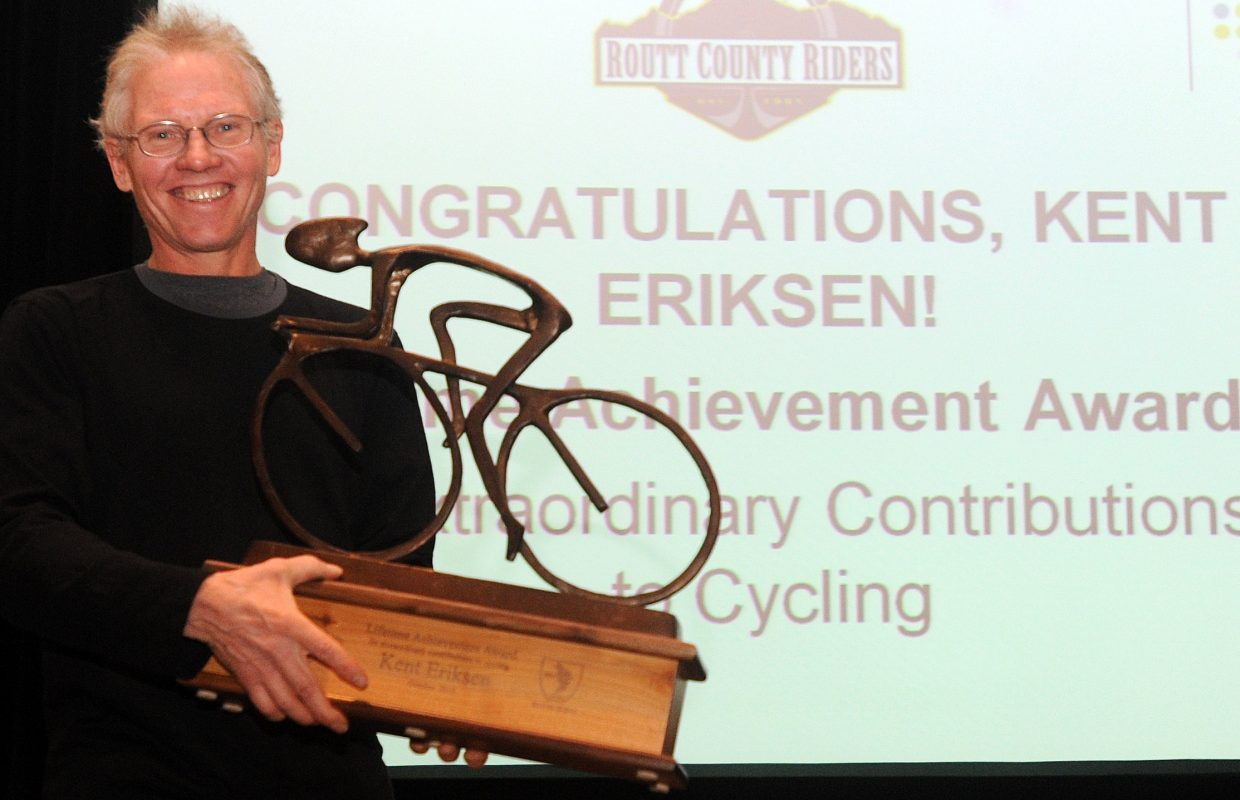 Kent Eriksen was presented Thursday night with a lifetime achievement award by Routt County Riders, honoring his work for bicycling in Steamboat Springs.