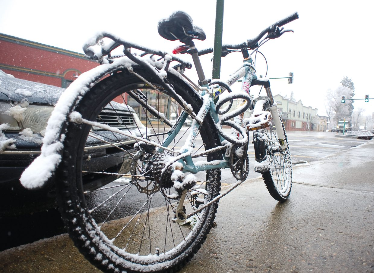 Cyclists were greeted to a wet, frosty morning Wednesday in Steamboat Springs.
