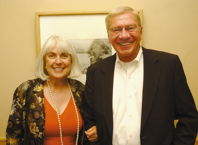 Yampa Valley Community Foundation Executive Director Betsey Jay and Steamboat resident Tom Baer.