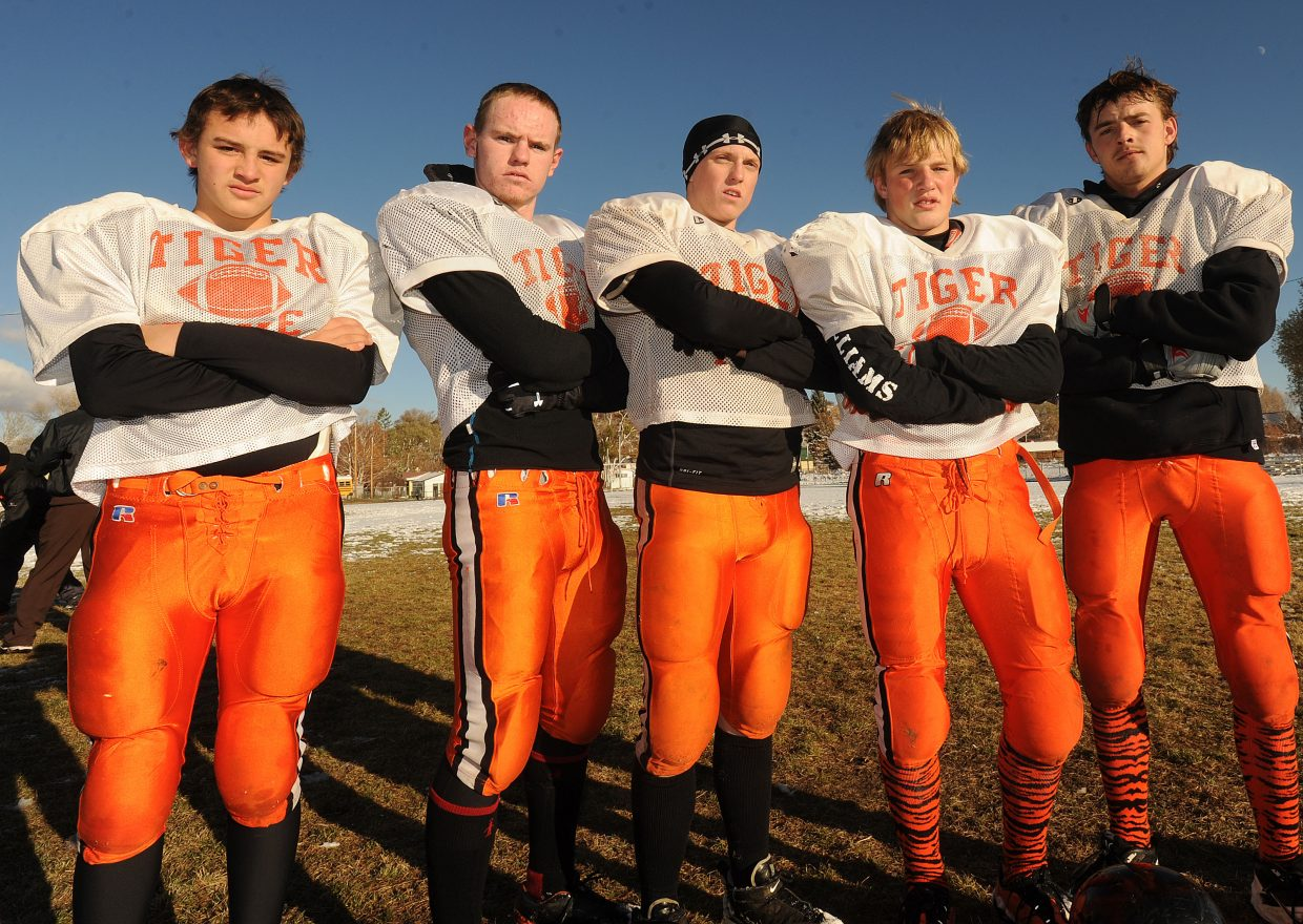 The Hayden offensive line — from left, Taylor Lewis, Jake Hockett, Austin Cless, Nick Williams and Brentt Gabel — has developed as the season progressed and has been a major factor in the Tigers' push to the playoffs.