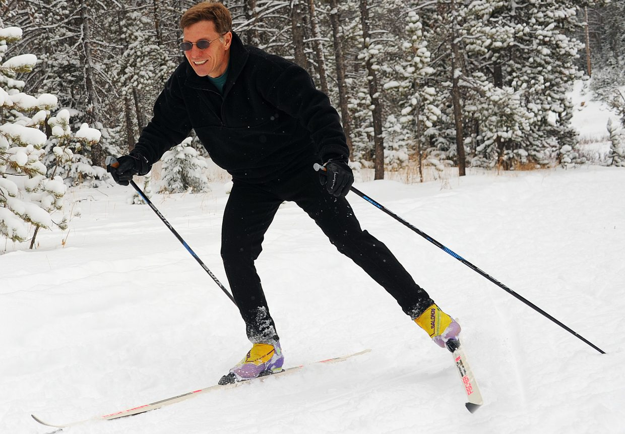 Darrell Bruder flies down the trail on Sunday at Bruce's Trail on Rabbit Ears Pass. Saturday and Sunday's snowfall finally amounted to enough for local skiers to hit the Nordic trails, and Bruce's, an early-season hotspot, was the target for many.