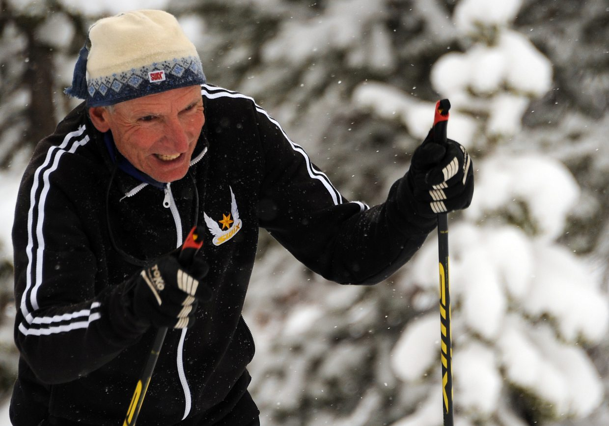 John Thrasher grins as he skis on Bruce's Trail on Sunday.
