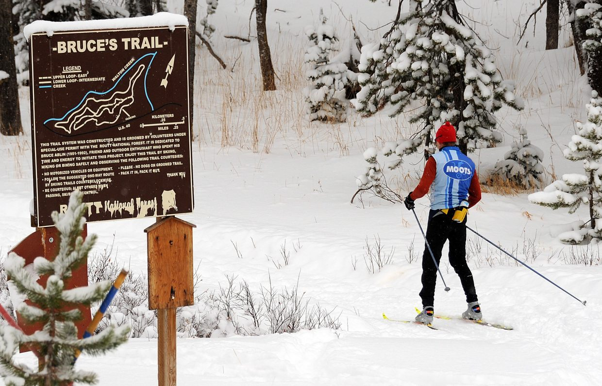 A skier makes his way down Bruce's Trail, the Rabbit Ears Pass hot spot popular for early-season skiing.