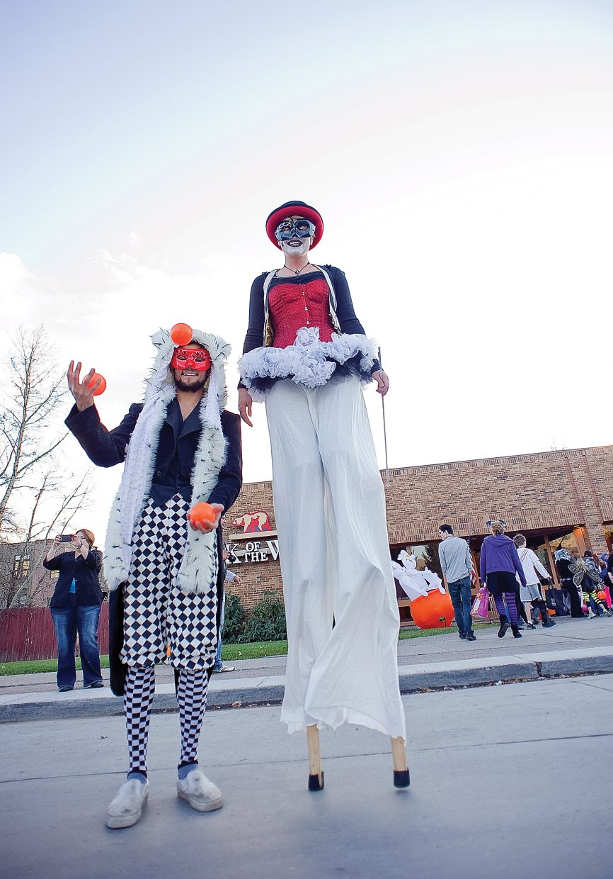 Mark Stampfle, left, and Jasmine Phillips were decked out for Monday's annual Downtown Halloween Stroll on Lincoln Avenue.