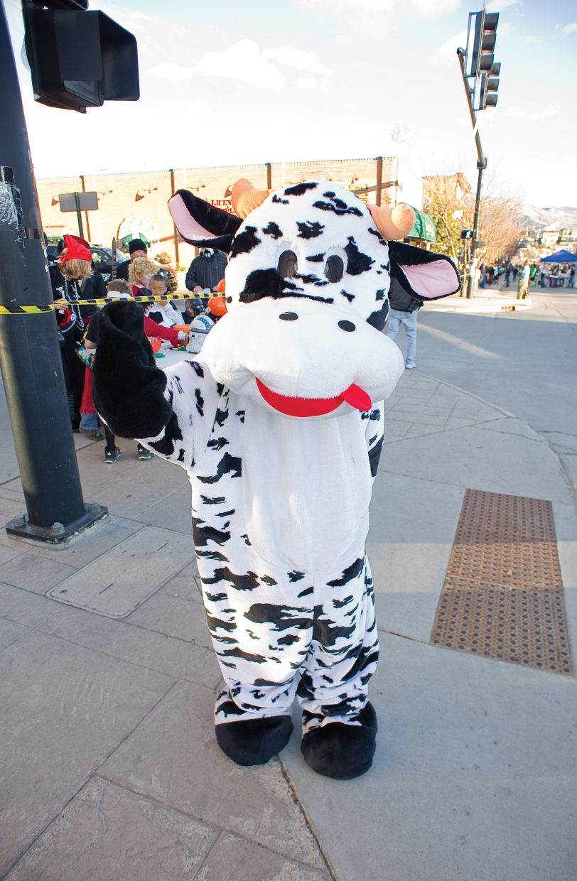 Will Petersen looked utterly cool in his cow costume during the annual Downtown Halloween Stroll on Lincoln Avenue.