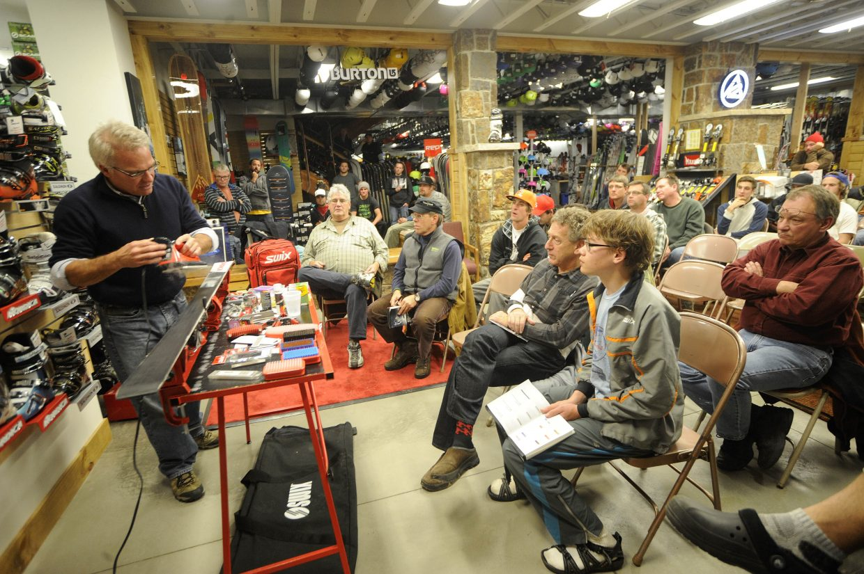 Mike Wagner, Alpine race service coordinator for Swix, teaches a waxing and tuning clinic Tuesday at Ski Haus. Wagner discussed the latest waxes offered by the company as well as products ideal for Colorado snow conditions.