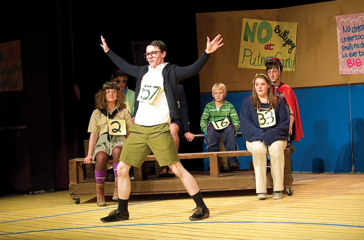 "William Barfee, played by Christian Weeden, spells his word correctly using a rather unorthodox method in a scene from ""The 25th Annual Putnam County Spelling Bee."" Weeden was rehearsing the part in the musical presented by Steamboat Springs High School, which will host performances at 7 p.m. Thursday, Friday and Saturday and a matinee performance at 2 p.m. Saturday at the high school. All tickets are general admission and are on sale at the high school."