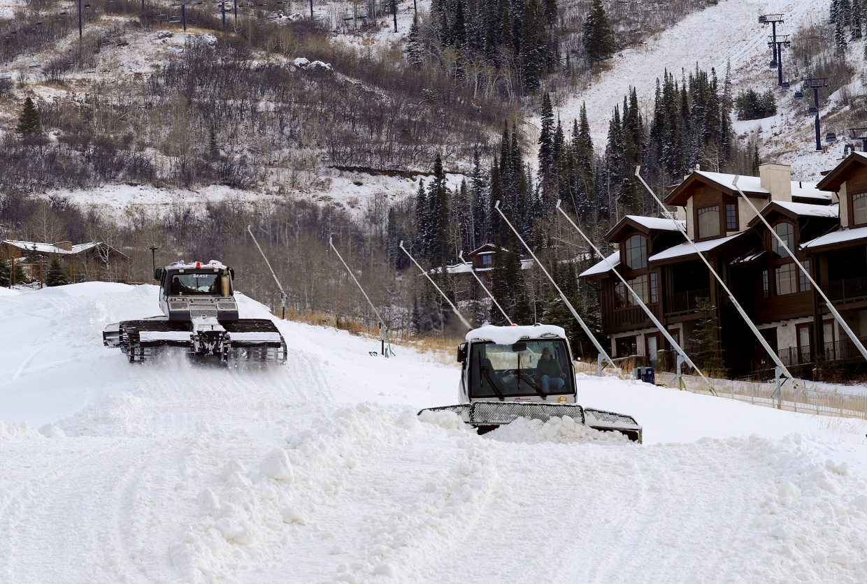 Skiing from the top of the gondola to the bottom of the mountain for the start of Steamboat Ski Area's 49th season is virtually assured as snowmaking operations wrap up on Heavenly Daze, Vogue, Sitz and Stampede.
