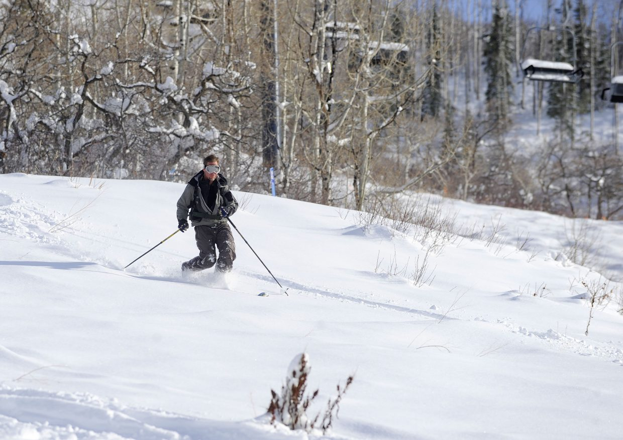 Steamboat Springs resident Jonathan Finnegan makes a turn at Steamboat Ski Area on Wednesday afternoon.