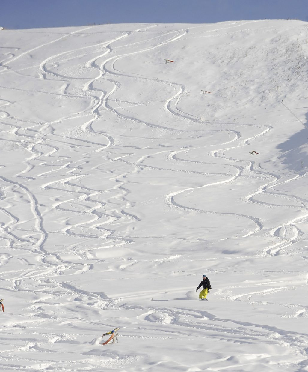 Steamboat Springs resident Kenny Loose rides down the See Me trail at Steamboat Ski Area on Wednesday afternoon.