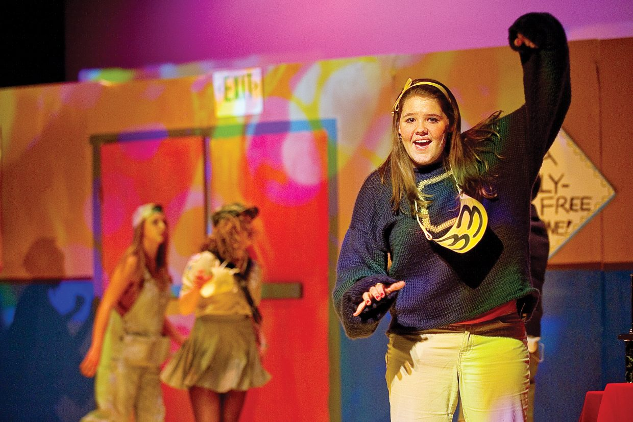 """Heather Seams plays Olive Ostrovsky while rehearsing a scene from """"The 25th Annual Putnam County Spelling Bee."""" The Steamboat Springs High School musical will host performances at 7 p.m. Friday and Saturday and a matinee performance at 2 p.m. Saturday at the high school. All tickets are general admission and are on sale at the high school."""