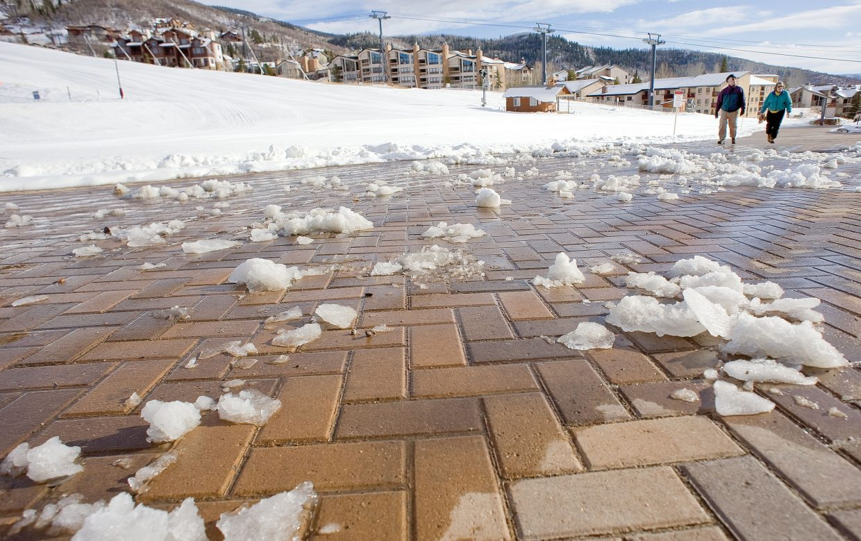 Harry and Margaret Miller walk along the new promenade at the base of Steamboat Springs Ski Area on Thursday afternoon. The Steamboat Springs couple wanted to check the new area out even as crews worked on the finishing touches.