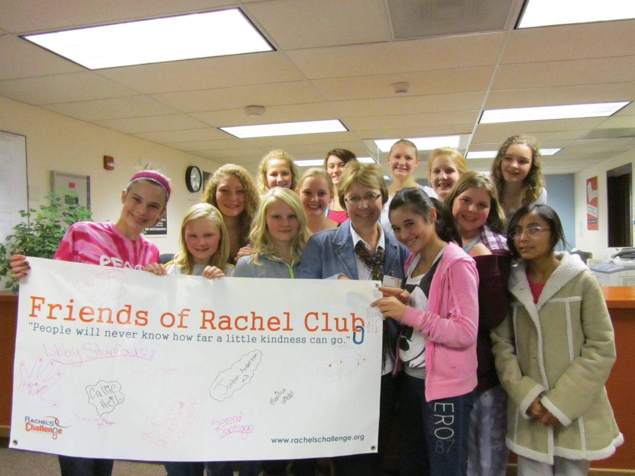 On Nov. 2, Yampa Valley Medical Center Cancer Services Director Jan Fritz facilitated a 20-minute Q-and-A session with eighth-grade girls from the Friends of Rachel Club and was presented with a check for $750. The Friends of Rachel Club is a group of 60 students at Steamboat Springs Middle School that works to create cultural change within the school. The funds were collected last month during a school dance, which was organized by the club.