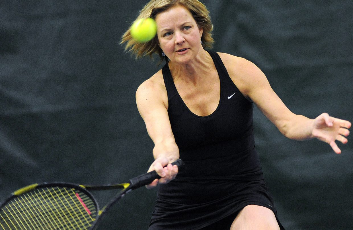 Cari Pugh prepares to hit a return Sunday during the City Singles and Doubles Tennis Championships at the Tennis Center at Steamboat Springs.