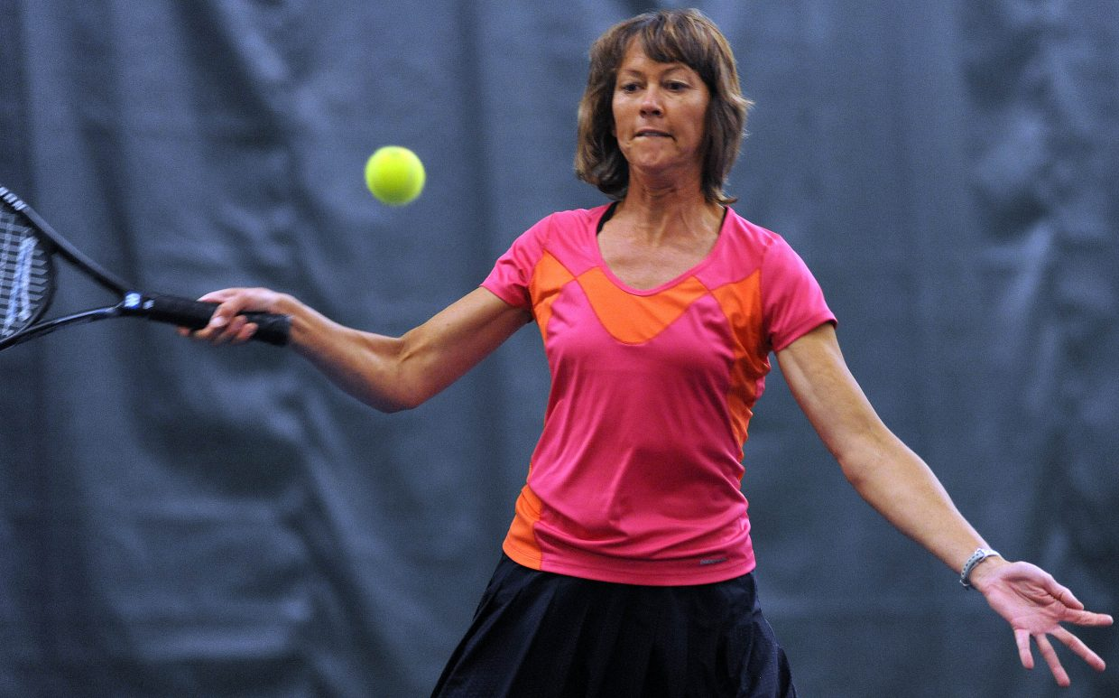 Patrice Lorenzen eyes the ball Sunday at the City Tennis Championships in Steamboat Springs.