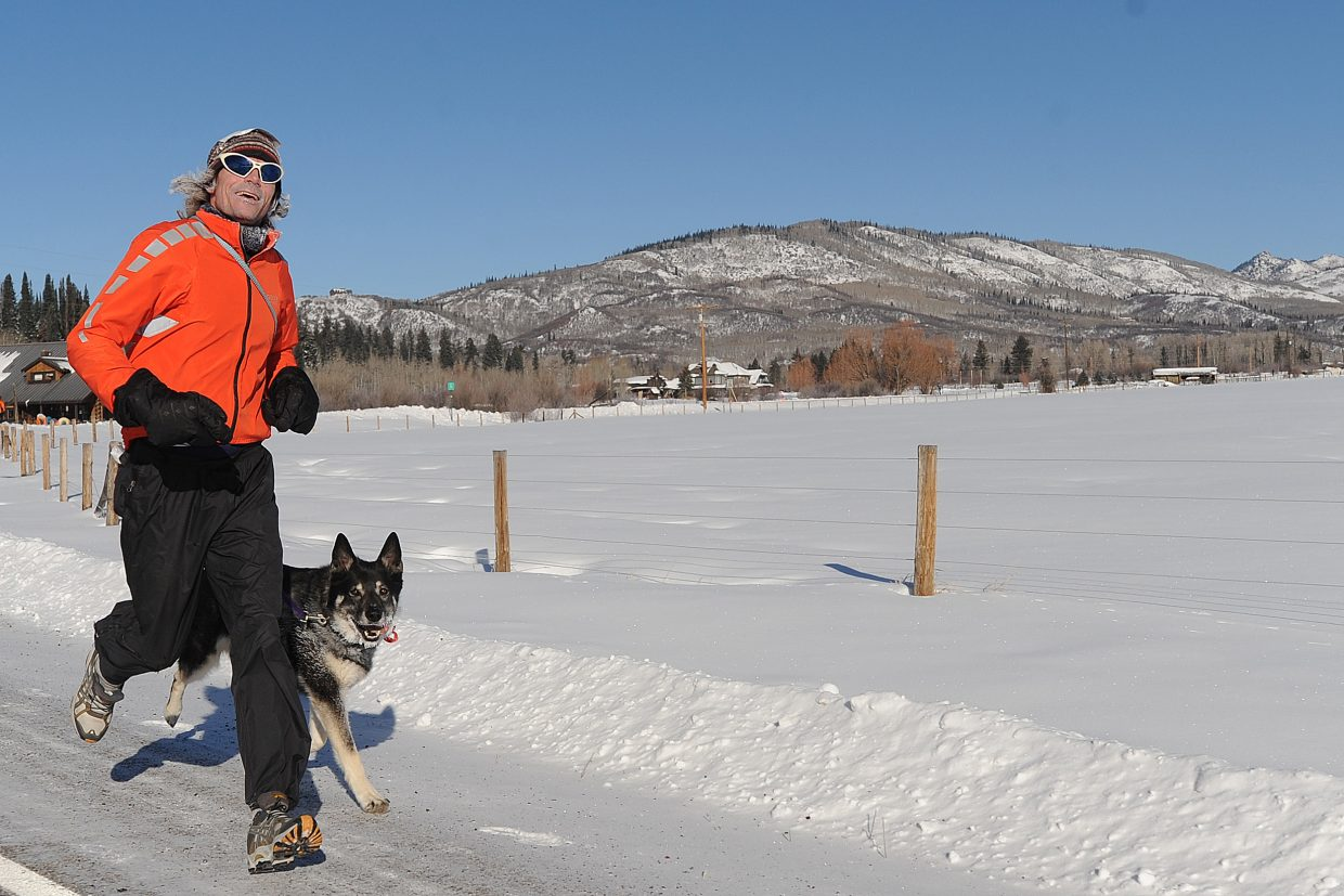 Steamboat Springs runner Dave Carley and his dog, Hazel, participate in the second annual Turkey Trot in Steamboat Springs. This year's event, part of the Steamboat Springs Winter Running Series, will start at 9 a.m. Thursday at Steamboat Springs High School.
