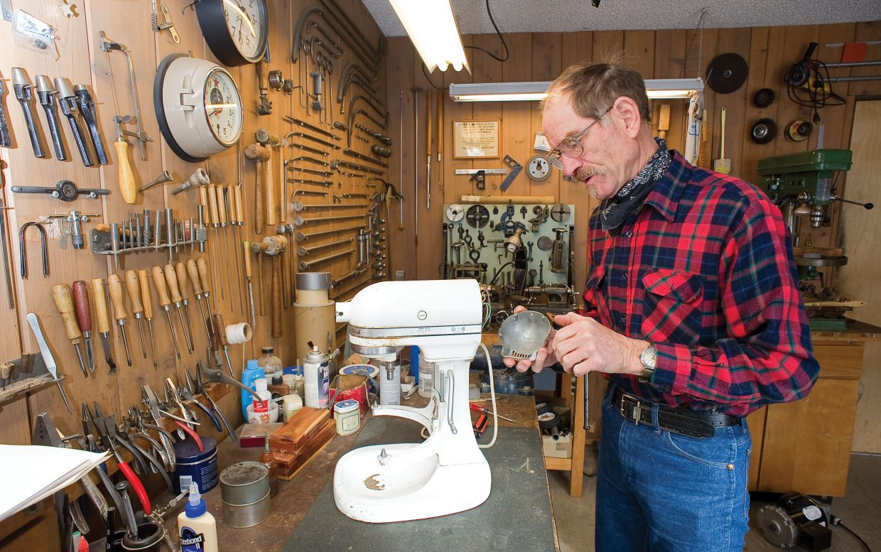 Bill Fetcher appreciates a well-made appliance like this 1985 mixer by KitchenAid that he currently is repairing. Fetcher has made a hobby of maintaining, repairing and rescuing vintage appliances.