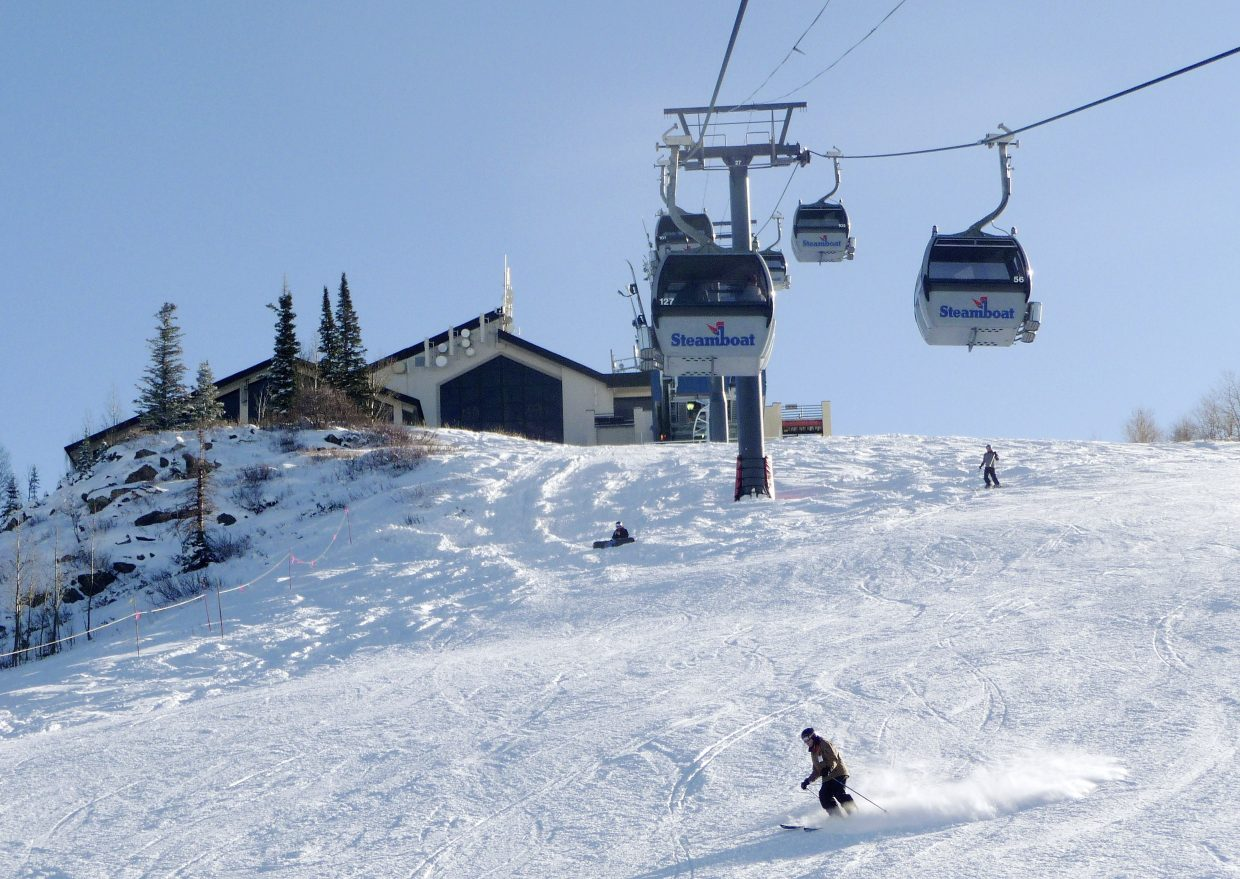 Skiers come down Heavenly Daze on Wednesday morning during Scholarship Day at Steamboat Ski Area.