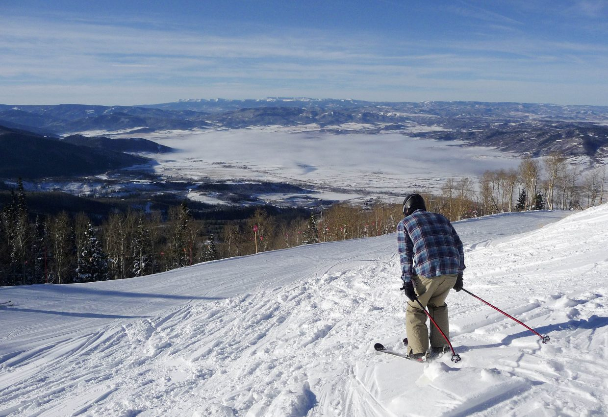 A skier heads toward Heavenly Daze during Scholarship Day on Wednesday at Steamboat Ski Area.