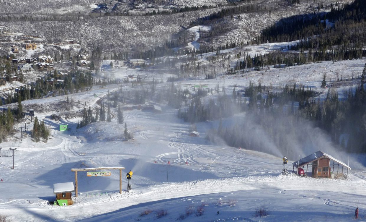 Snowguns send snow into the Mavericks Terrain Park on Wednesday morning during Scholarship Day at Steamboat Ski Area.