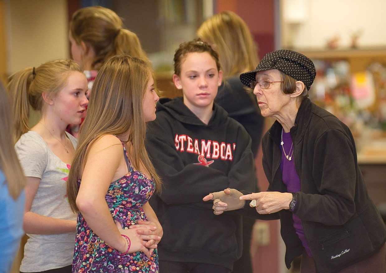 LIz Keen, an instructor at the Perry-Mansfield Performing Arts School and Camp and The Juilliard School, talks with Steamboat Springs High School students preparing for the upcoming Dance Showcase.