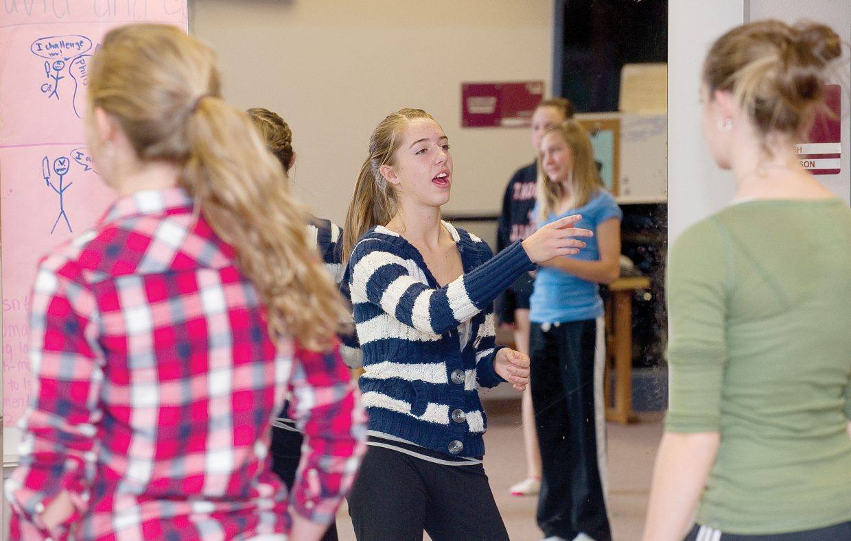 Choreographer Anala Sokolowski works with dancers at Steamboat Springs High School as they prepare for this year's Dance Showcase.