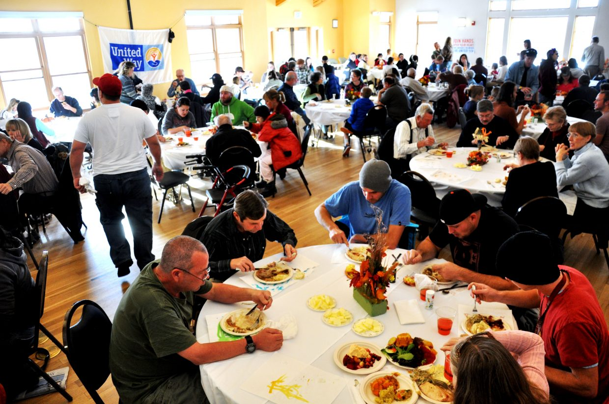 Thursday's Routt County United Way Community Thanksgiving Dinner served 934 plates this year, compared with last year's 700.