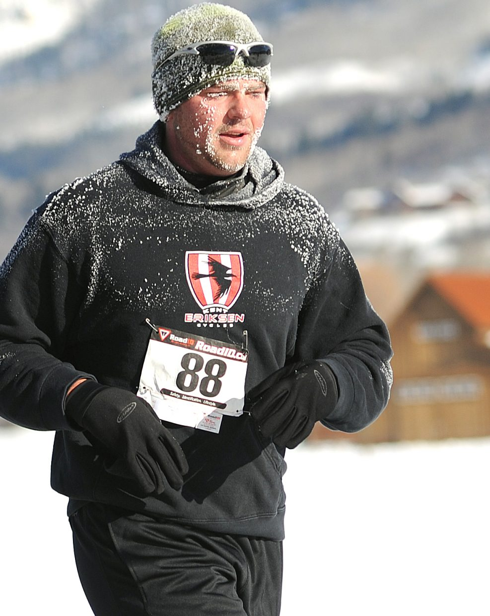 Max Leidigh runs in Thursday's Turkey Trot in Steamboat Springs.