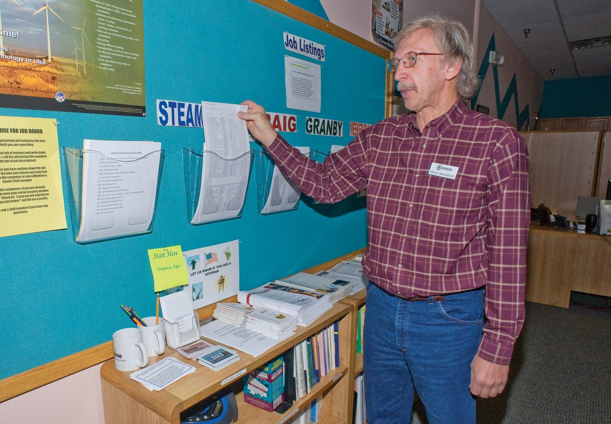 Brian Bradbury, an employment specialist at the Colorado Workforce Center's branch in Steamboat Springs, sorts through bins filled with job listings. Routt County's unemployment rate jumped about 0.5 percent from September to October but still is significantly lower than the unemployment rate from a year ago.