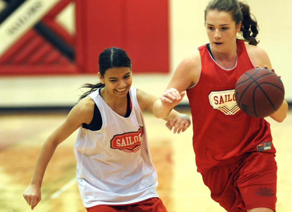 Steamboat's Ashley Spitellie races down the court with the ball Friday as the Sailors girls basketball team practiced in Steamboat Springs.