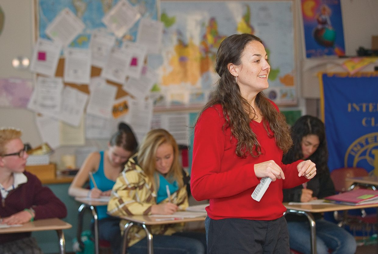 Social studies teacher Meghan Hanson-Peters teaches a class Tuesday morning at Steamboat Springs High School. Hanson-Peters will step into the role of assistant principal, which is being vacated by Marty Lamansky. He will take over as the school district's curriculum director Thursday.